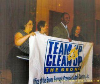 From lto r: Lorraine Nicoletti; Eleanor Rae; Adolfo Carrion Jr, Bronx Borough President; Violet Smith